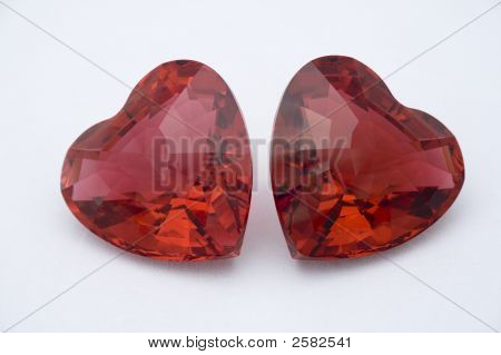 Two Red Crystal Hearts