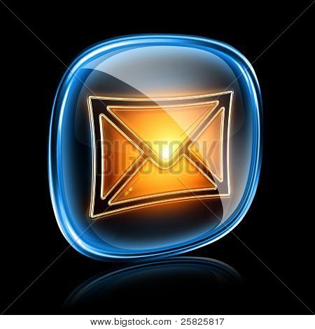 Envelope Icon Neon, Isolated On Black Background