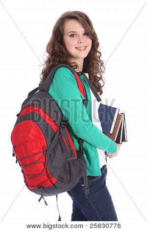 High School Happy Teenage Student Girl Big Smile