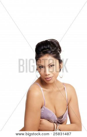 Attractive Pacific Islander Woman Portrait Purple Bra