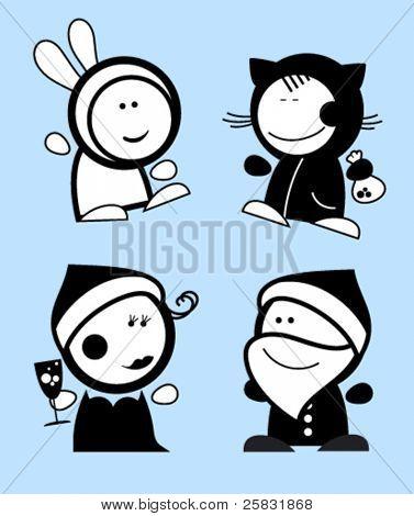 Conjunto de iconos de personas divertidas de año nuevo.
