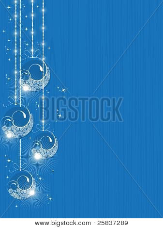 set of creative  & decorative hanging Christmas balls  having shiny stars in skyblue color background Christmas & other occasions.