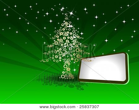 Creative golden with shiny Christmas tree on green rays background with blank text board for Christmas & other occasions.