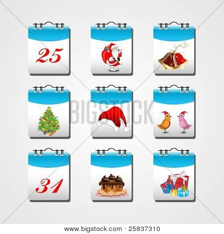 set of elements in calender like Santa Clause, jingle bell,Xmas tree, Santa cap, birds wearing Santa cap, cake & gift boxes with 25 & 31 date for Christmas & New year