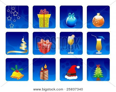 set of elements  like Colorful gifts box, hanging stars, Santa cap, creative Christmas balls & trees, candle, jingle bells & cocktails glass on blue color circle background for all  occasions.