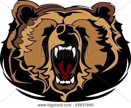 Cabeza de la mascota de oso grizzly Vector Graphic