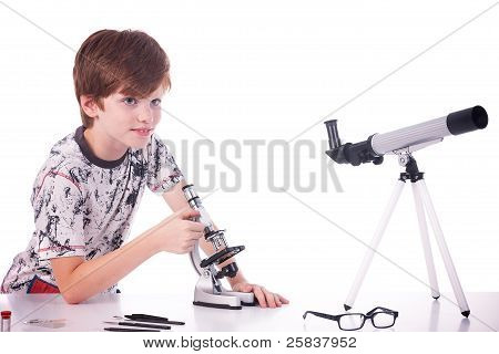 Happy Boy Studying Science. Isolated On White, Studio Shot