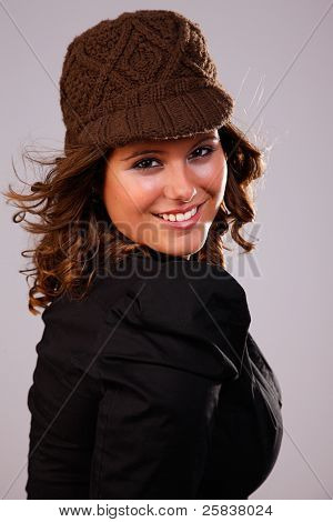 Happy Beautiful Woman,with A Hat, Studio Shot
