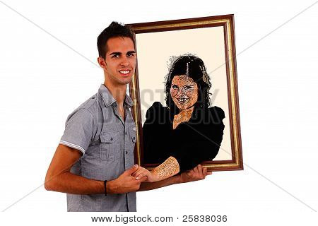 Man Holding A Picture  Of His Loved, That Comes To Life And Gives Him A Hand, Isolated On White, Stu