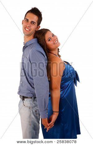 Happy Couple Back To Back, And Isolated White Background