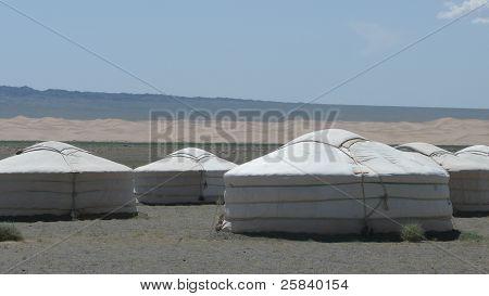 Campamento de Gers en el desierto de Gobi