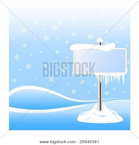 Frozen sign with icicles on winter background