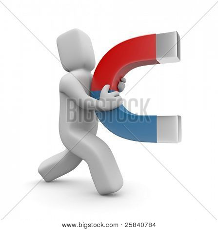 Person with magnet. Image contain clipping path