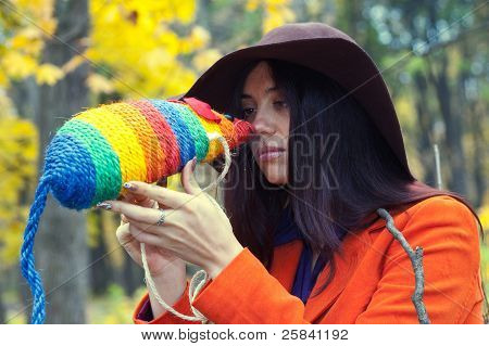 girl and colored rat