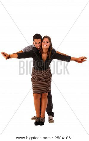 A Beauty And Happy Cute Couple, With Arms Opened, Isolated On White, Studio Shot