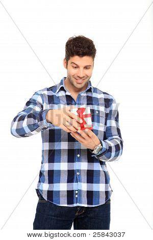 Man Open A Gift