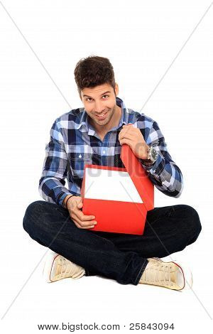 Sitting Man With A Box