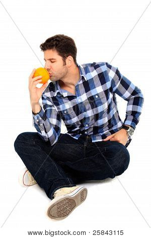 Sitting Man With An Orange