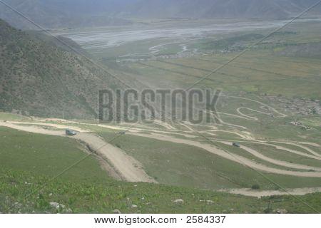 Snake Road To A Tibet Monastary