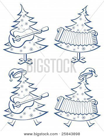 Christmas trees, set, musicians