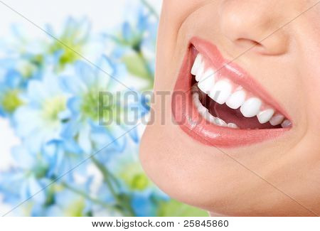 Woman smile and teeth. Dental health. Dentist.
