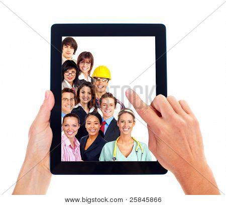Hände mit Tablet PC. Business gespann Leute. isolated on white Background.