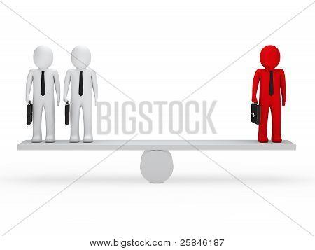 Geschäft Männer Gleichgewicht auf Wippe