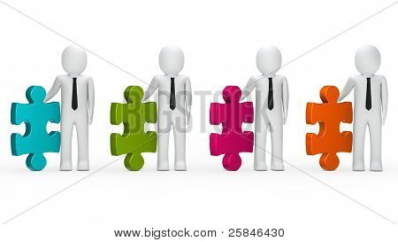 Businessmen Hold Puzzle