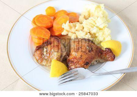 Lemon Chicken Meal On Plate