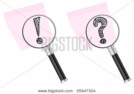 Magnifying Glass And Memo Stick Note