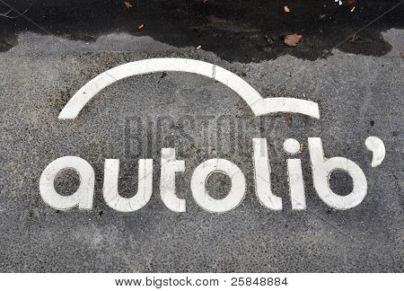 PARIS - NOVEMBER 25: An Autolib' symbol painted on the tarmac on November 25, 2011 in Paris, France. Autolib' is a car-sharing scheme which will be launched in December.