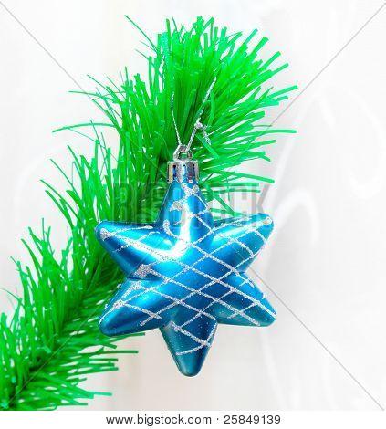 Única estrela sobre ramo verde abeto