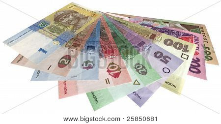 Ukrainian Money (hryvnas) Isolated On White Background