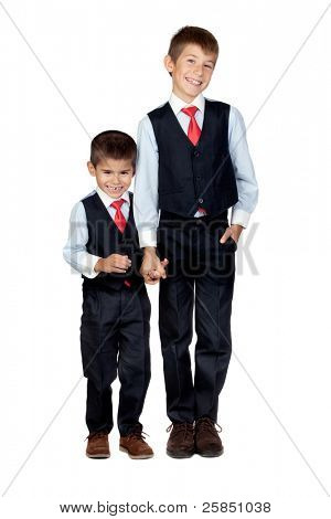 Two funny businessmen isolated on a over white background