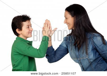 Adorable mother and her son making a handshake isolated on white background