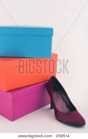 Shoe Boxes And Red Shoe