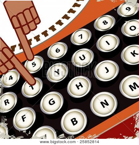 Poster with Typewriter Keyboards and Hands