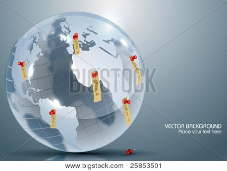 Vector Glass Globe with Office Markers