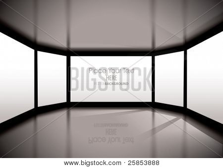 Vector Empty Interior with big windows and Sun rays