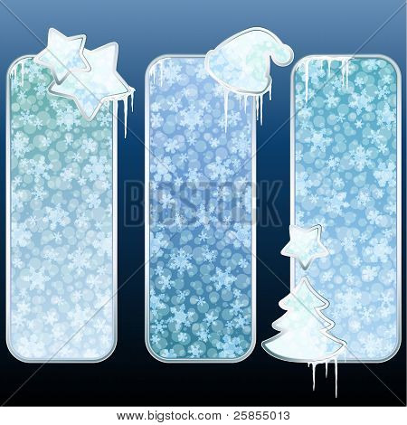 Set of glossy vertical banners with icicles