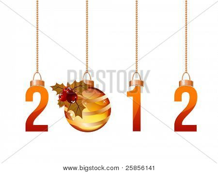 2012 made of hanging Christmas decorations isolated on white. Raster version.