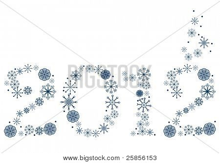 New year 2012 made of blue snowflakes. Raster version.