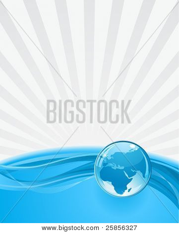 abstract background with globe and rays