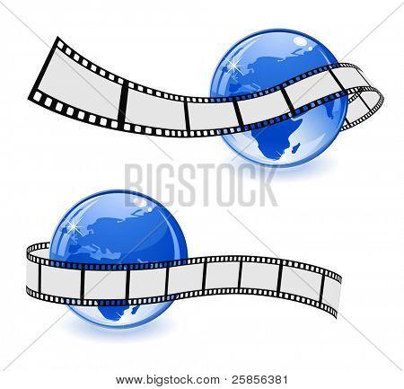globe with film strip