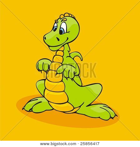 Small amusing dinosaur. Vector illustration