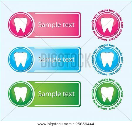 labels of white tooth. Vector Illustration