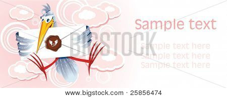 Stork with the letter against pink clouds