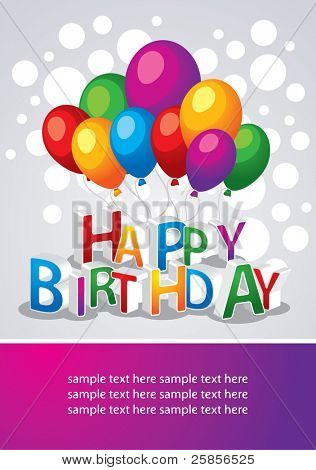 Vector template on birthday