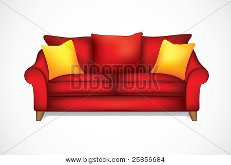 Red sofa. Gradient mesh used. eps 10