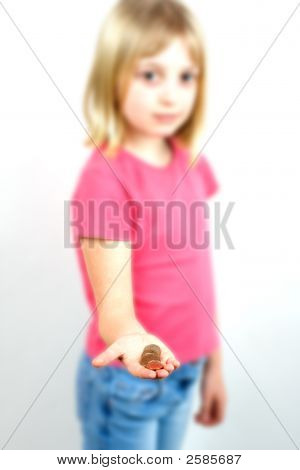 Young Girl Handing Over Coins